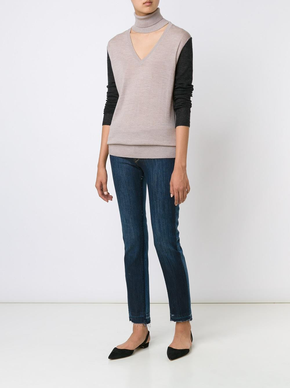 Merino Deep V Turtleneck