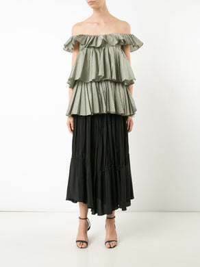 Sleeveless 3-Tier Ruffle Blouse
