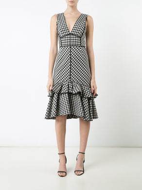Gingham Sleeveless Ruffle Dress
