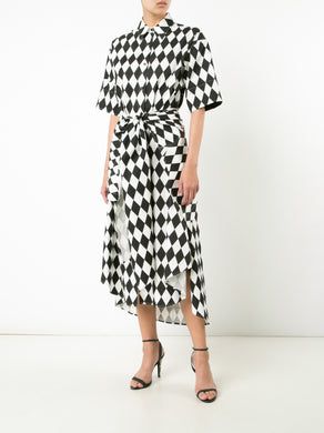 Diamond Print Open Back Shirtdress W/Belt