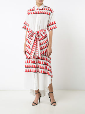 Geometric Print Open Back Shirtdress W/Belt