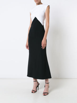 V-Neck Panel Column Dress