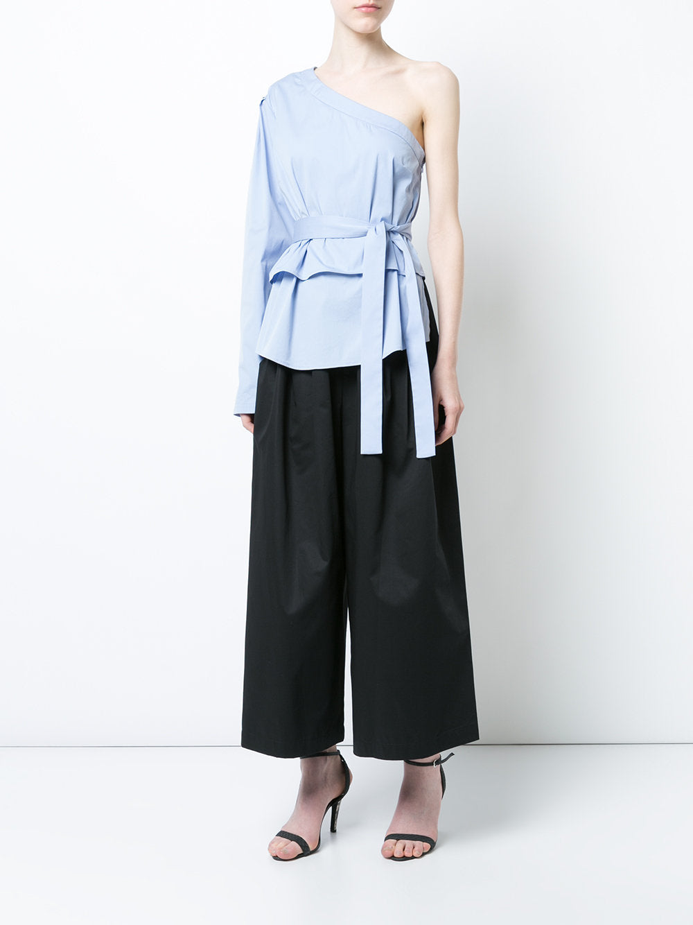 One Shoulder Top with Sleeve and Belt Tie