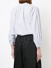 Knotted Peasant Blouse Cotton Striped