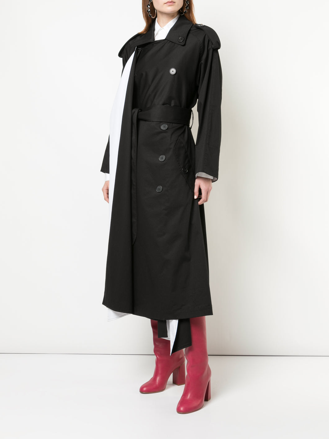Scarf Lapel Trench Coat