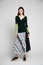 Pleated Wrap Skirt with Printed Inset