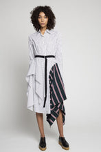 Striped Shirtdress with Insets
