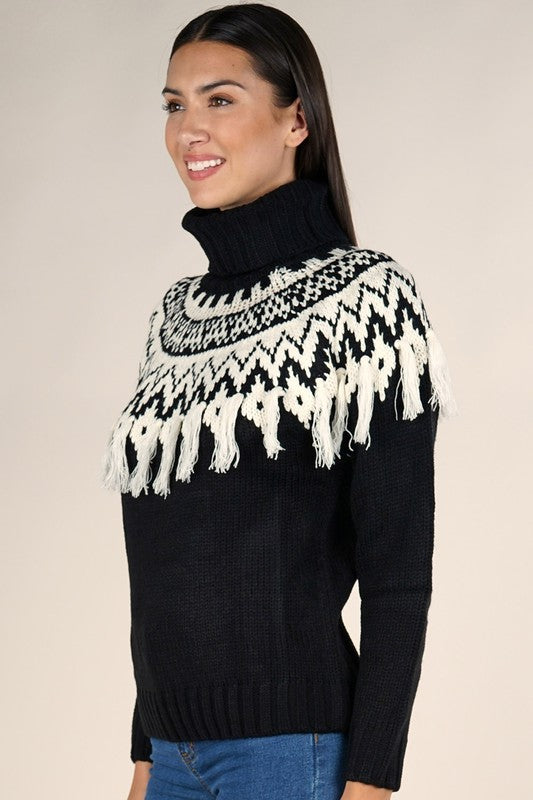 Timber Nordic Fringe Turtleneck Sweater