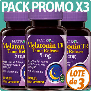 PACK BONUS X3 Melatonina liberacion prolongada - melatonina 5 mg con vitamina B6 - 300 tabletas de Natrol
