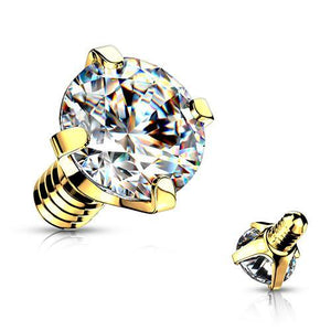 14g Gold Plated Prong CZ