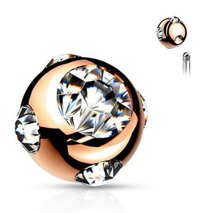 16g Rose Gold Plated Tiffany Gem Balls (2-Pack)