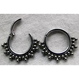 16g Titanium Double Row Beaded Hinged Ring