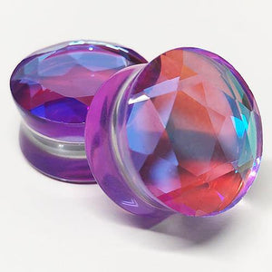 AB Purple Glass Faceted Plugs
