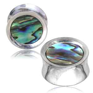 Abalone & Silver Plated Brass Plugs