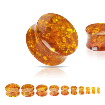 Amber Crackle Acrylic Plugs