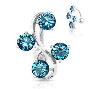 CZ Vine Reverse Belly Ring