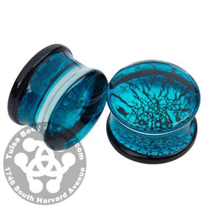 Aqua Dichroic Glass Plugs