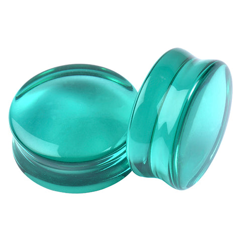 Double Flare Aqua Glass Plugs