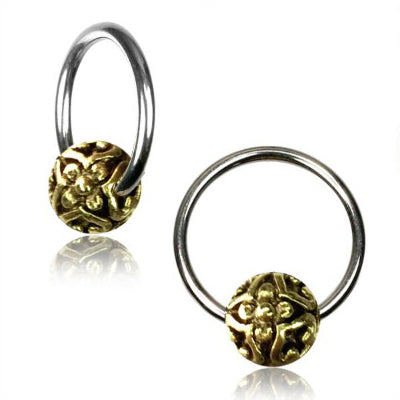 Brass Bali Flower Captive Bead Ring