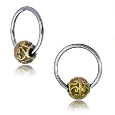 Brass Bali Heart Captive Bead Ring