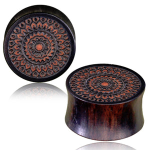 Balinese Engraved Iron Wood Plugs