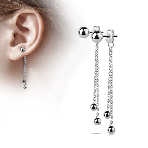 Stainless Ball Chain Stud Earrings