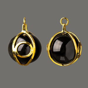 Black Obsidian Eye Globe Pendants by Diablo Organics