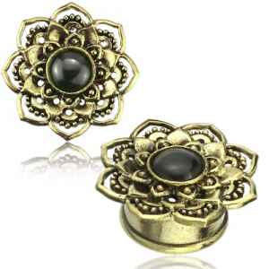 Black Onyx & Yellow Brass Lotus Plugs