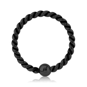 Blackline Braided Fixed Bead Ring