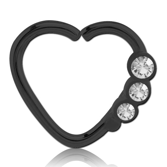 Blackline Triple CZ Heart Ring