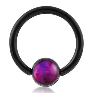 Mother of Pearl Blackline Captive Bead Ring