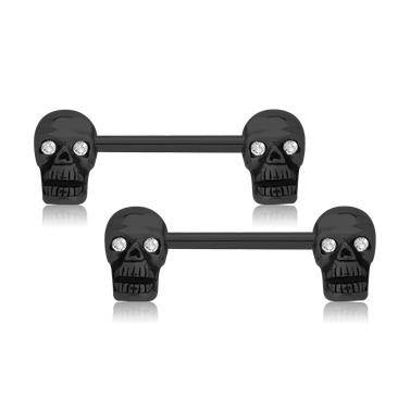 Blackline Skull Nipple Barbells