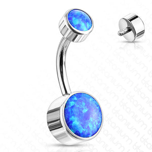 Titanium Opal Bezel Belly Ring