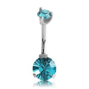 Stainless Prong CZ Belly Ring