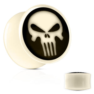 Punisher Inlay Bone Plugs