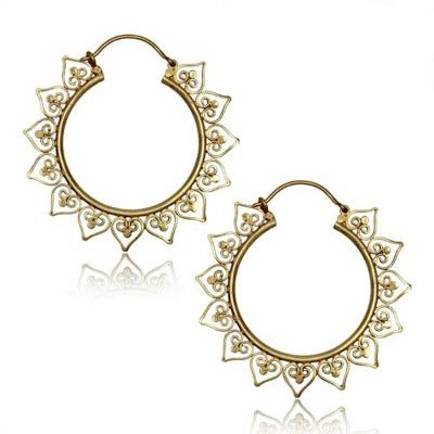 Yellow Brass Bali Heart Hoop Earrings