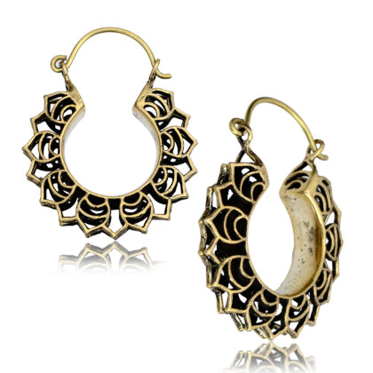 Yellow Brass Lotus Leaf Earrings