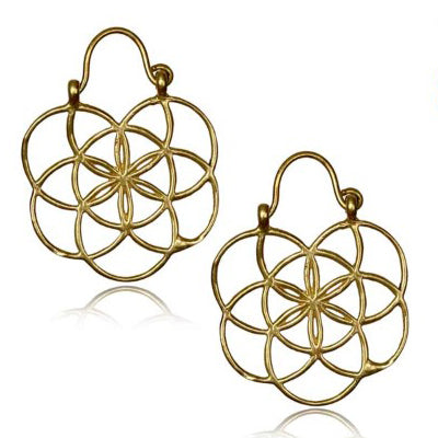 Yellow Brass Sacred Geometry Earrings