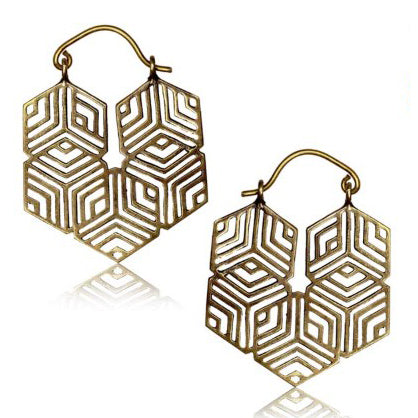 Yellow Brass Geometry Hex Earrings