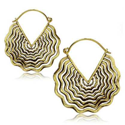 Yellow Brass Soundwave Earrings