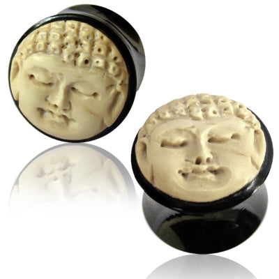 Buddha Face Inlay Horn Plugs