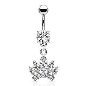 CZ Crown Belly Dangle