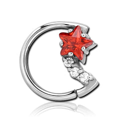 Stainless CZ Star & Moon Shaped Ring