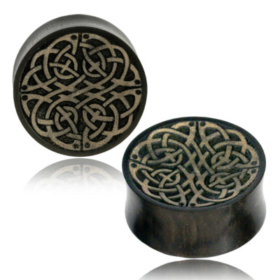 Celtic Knot Engraved Arang Wood Plugs