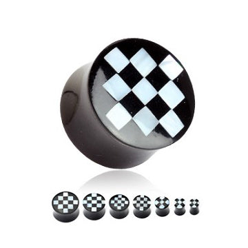Checker Mother of Pearl & Horn Plugs