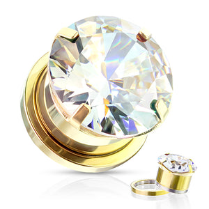 Screw-On Gold Plated Prong CZ Plugs