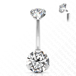 Titanium Prong CZ Belly Ring