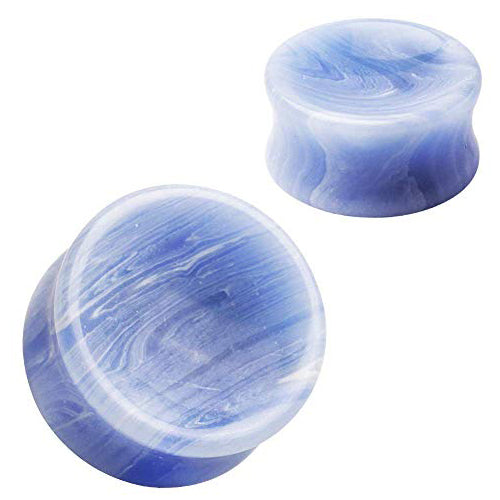 Concave Blue Lace Agate Plugs