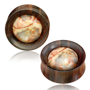 Crazy Lace Agate Narra Wood Plugs