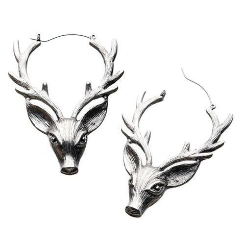 Deer Head Tunnel Hoop Earrings
